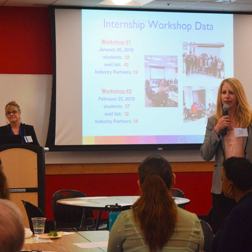 Vera Jacobson and Tina Smith Presenting at the Move Forward event, March 2019
