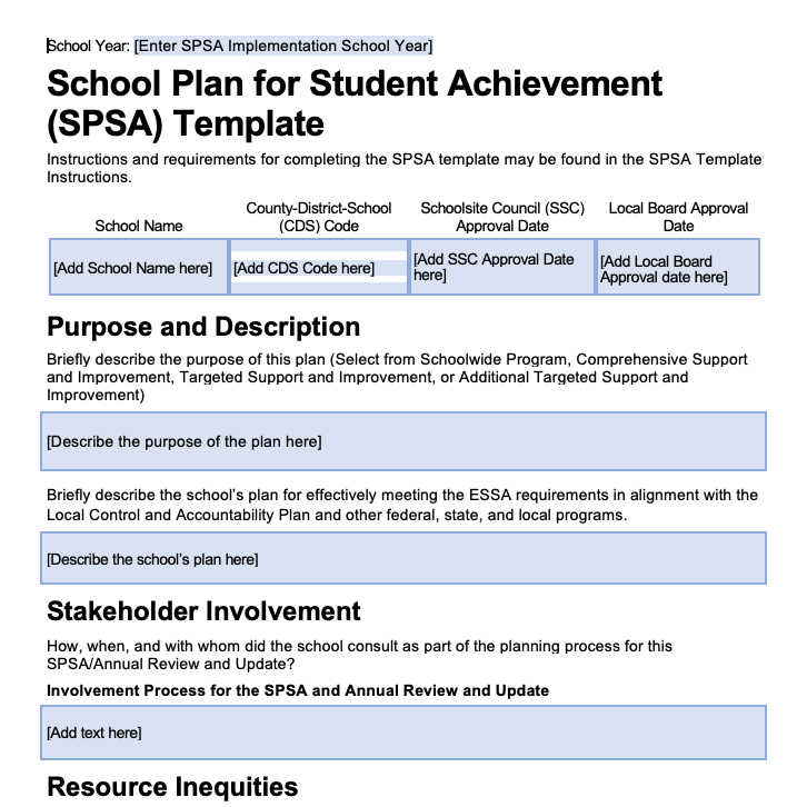 School Plan for Student Achievement (SPSA) Template for the Comprehensive Support and Improvement Plan